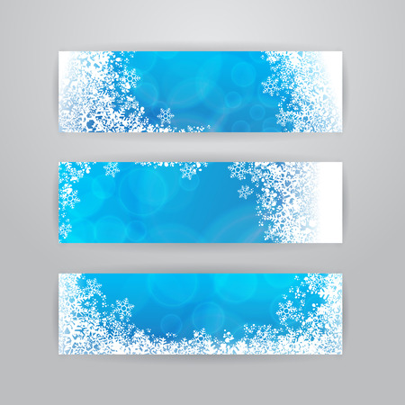 snowflake: Set of three horizontal banners with snowflakes on blue blurry background