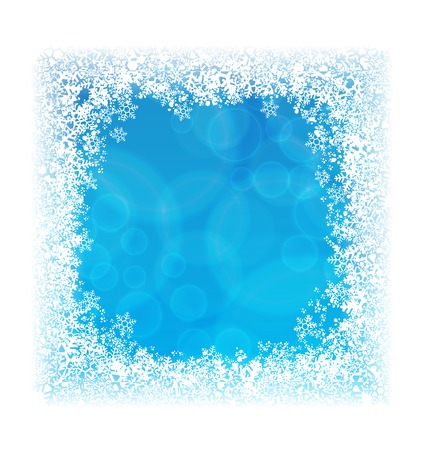 Abstract blue background in border of snowflakes