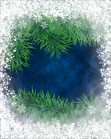 Winter background of pine branch through the frozen window Vector