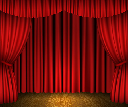 Red open curtains and wooden stage