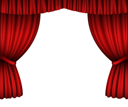 red  open: Red open curtains isolated on white Illustration