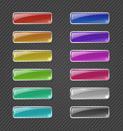 Set of colored transparent glowing web buttons on dark background Çizim