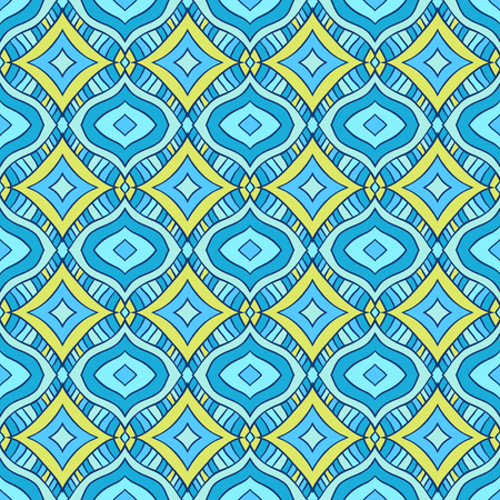 Seamless pattern with handdrawn abstract ornament. Blue and yellow rhombus