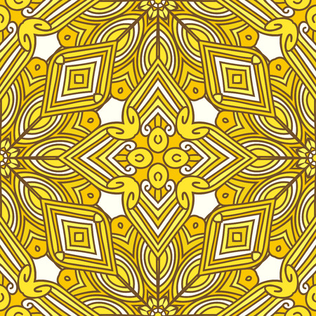 curls: Bright yellow seamless pattern with flowers, curls and lines
