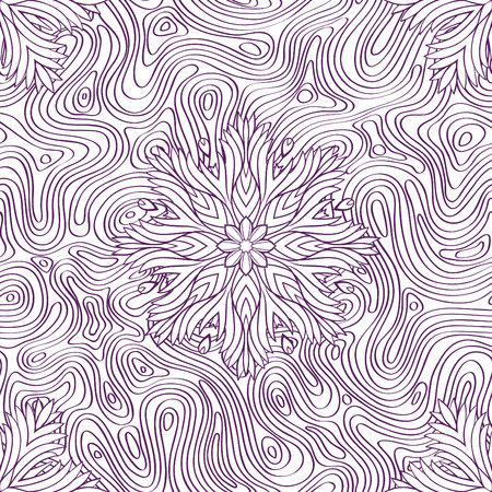 curved lines: Seamless pattern with abstract curved lines and flowers