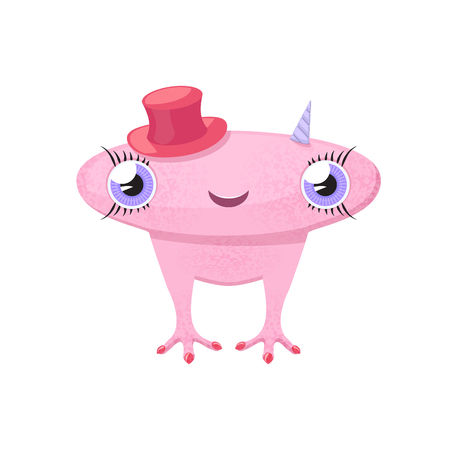 big hat: Pink cute monster-girl with big head, horns and red hat