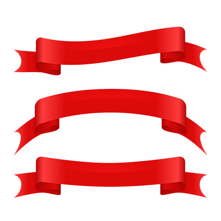 reb: Set of three red curved ribbons. Reb silk banners Illustration