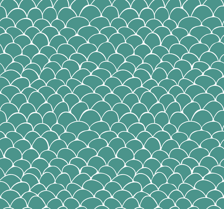 手のシームレスなパターンは、緑の背景の白いスケール パターンを描画