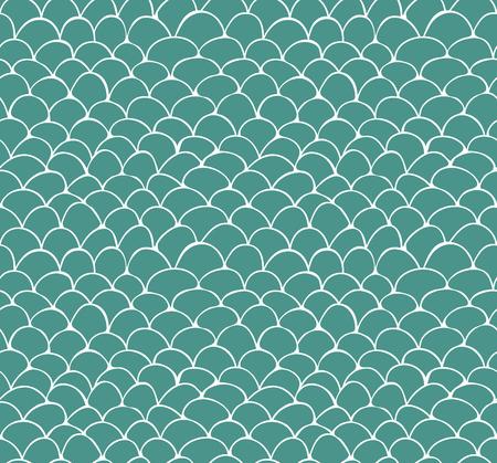 Naadloos patroon van de hand getekende witte schaal patroon op groene achtergrond