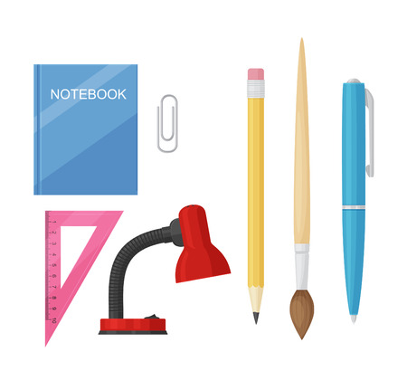 rollerball: Icons set of school supplies Illustration