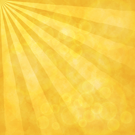 Sunny yellow background. Sunrays, bokeh and watercolor texture