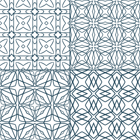 interweaving: Set of monochrome geometric seamless patterns with rhombus and interweaving lines Illustration