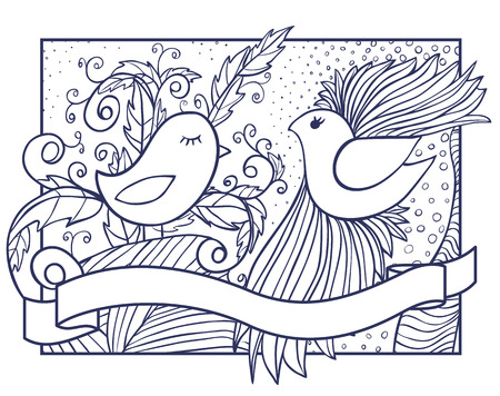 two birds: Hand drawn illustration of two birds with abstract ornament and ribbon banner Illustration