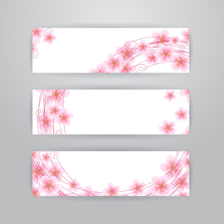 springtime: Set of three horizontal banners with pink sakura flowers on white background. Springtime banners