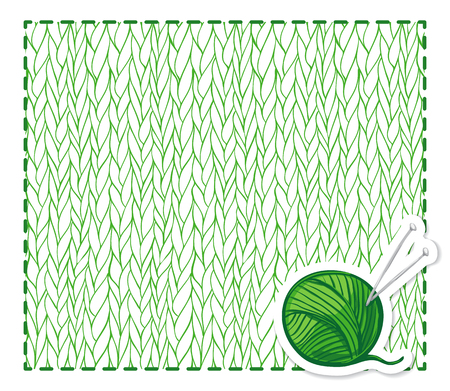 sewing cotton: Green backround with knitting pattern and ball of yarn