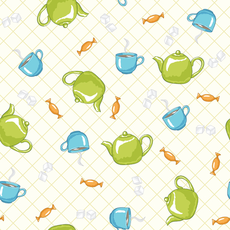 teatime: Teatime pattern. seamless pattern with green teapots and blue cups.