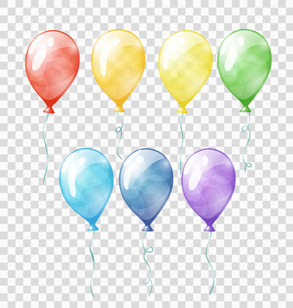 yellow design element: Set of colored transparent balloons on the chequered background