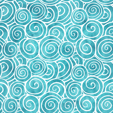 Blue seamless pattern with hand drawn swirls and watercolor texture