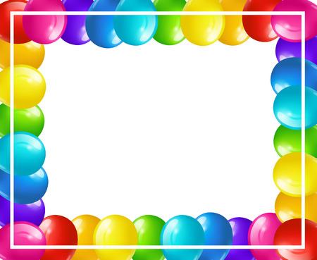 fondo festivo colorido con el marco de globos de colores brillantes aislados en blanco