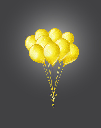 shimmering: Bunch of golden shimmering balloons on dark background