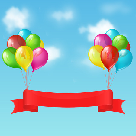 bunches: Illustration of two bunches of balloons with red ribbon banner on the background of blue sky with clouds