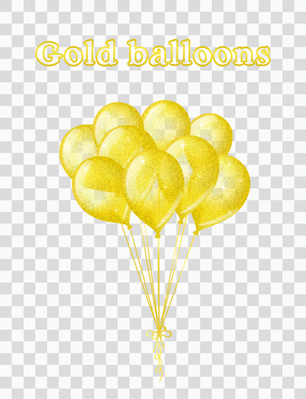 Vector illustration of bunch of transparent gold shimmering balloons