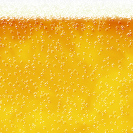 Vector illustration of beer with air bubbles and foam