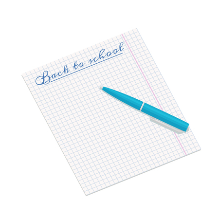 writting: Vector illustration of notebook paper with writting Back to school and blue pen Illustration