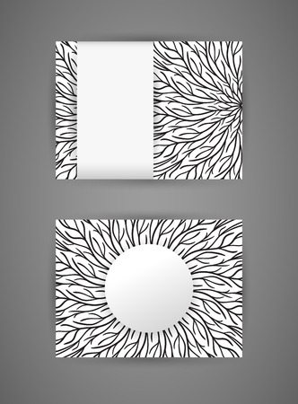 personal ornaments: Vector business card design template with abstract hand drawn round monochrome pattern