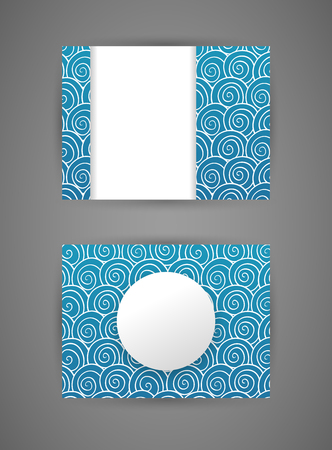 Vector business card design template with hand drawn background of white outline swirls pattern on blue background