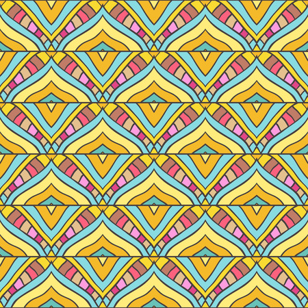 stripped background: Seamless pattern with handdrawn abstract ornament. Colored stripped background
