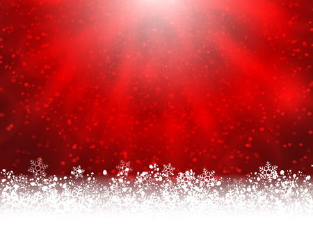 shinning: Winter holiday greeting card. Vector red background with white snow at the bottom and light of shinning stat at the top Illustration