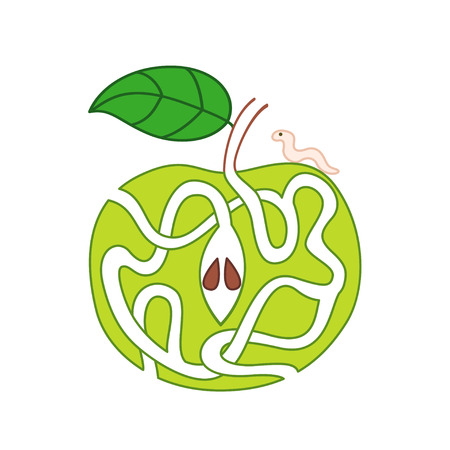 Vector cartoon illustration of green apple with maze of caterpillar tracks.