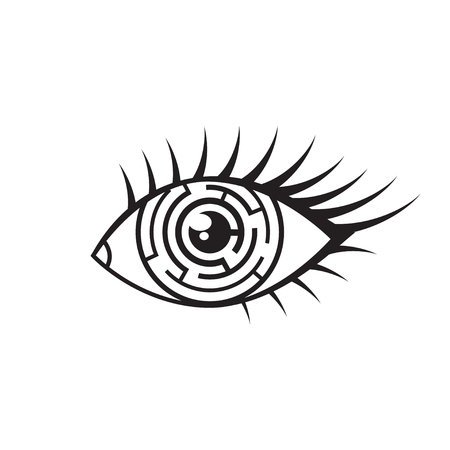 Vector monochrome illustration of eye with maze in iris. Black eye labyrinth icon