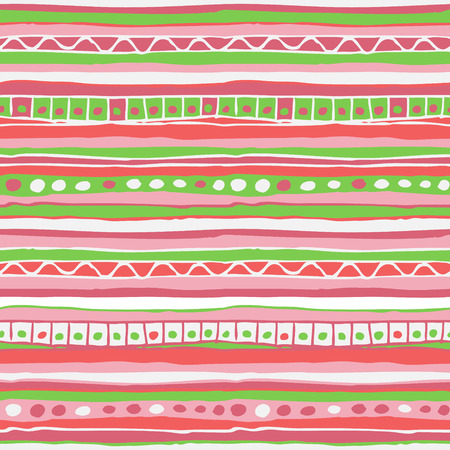 hand colored: Vector colored hand drawn striped seamless pattern