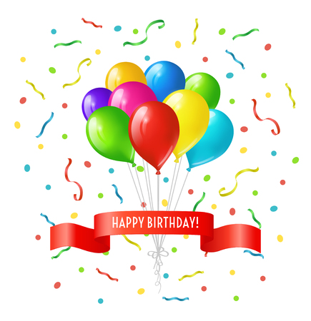 Happy birthday greeting card. Bunch of colored bright balloons with falling confetti and red ribbon with text Happy birthday Vectores
