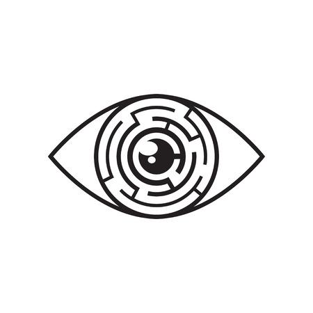 Vector monochrome illustration of eye with labyrinth in iris. Black eye maze icon Illustration