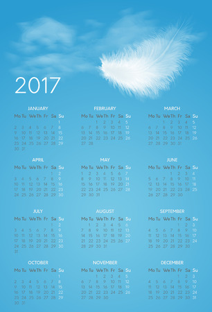 Vector calendar for 2017 year witn background of blue sky and white flying fluffy feather. Week starts on monday