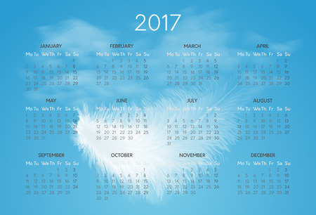 Vector horizontal calendar for 2017 year witn background of blue sky and white flying fluffy feather. Week starts on monday Illustration