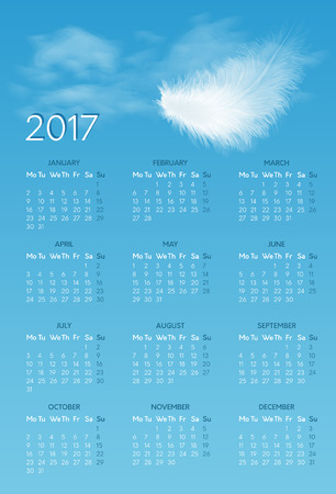 Vector calendar for 2017 year with backdrop of blue sky with white flying fluffy feather. Week starts on monday Illustration