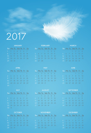 calendar for 2017 year with background of blue sky and white flying fluffy feather. Week starts on sunday Illustration