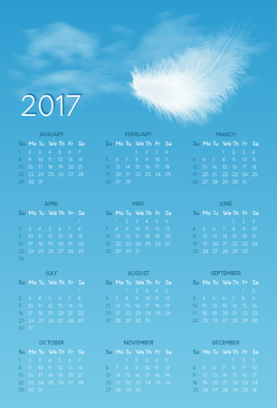 calendar for 2017 year with background of blue sky with white flying fluffy feather. Week starts on sunday Illustration