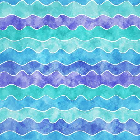 Nahtlose Muster von farbigen blauen Wellen mit Aquarell Textur