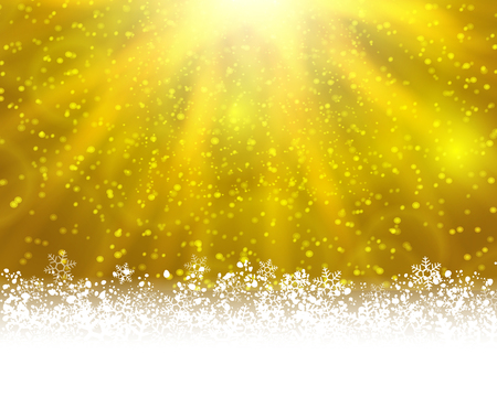 stat: Winter holiday greeting card.  yellow background with white snow at the bottom and light of shinning stat at the top