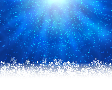 stat: Winter holiday greeting card.  blue background with white snow at the bottom and light of shinning stat at the top