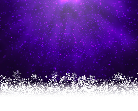 stat: Winter holiday greeting card. purple background with white snow at the bottom and light of shinning stat at the top Illustration