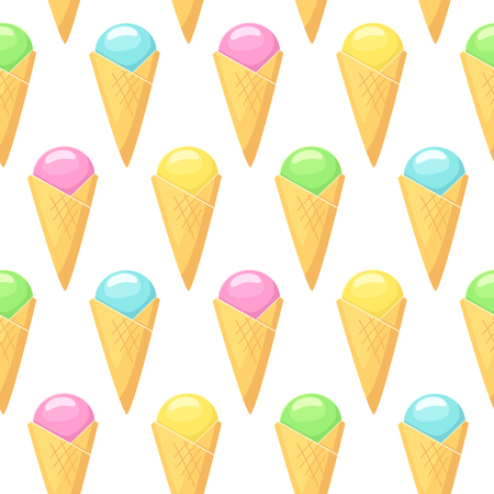 Ice cream . Vector seamless pattern with ice cream in cones on white background Çizim