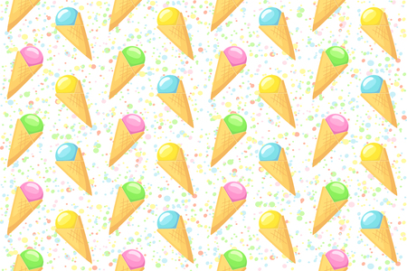 Ice cream . Vector seamless pattern with ice cream and colored dots