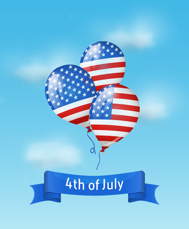 Balloons colored as flag USA with 4th July banner in the sky. Vector background for Independence day USA