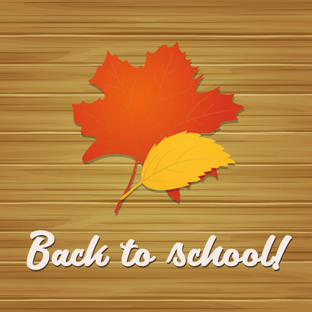 Back to school. Vector autumn background with yellow leaves and text on the wood texture Çizim